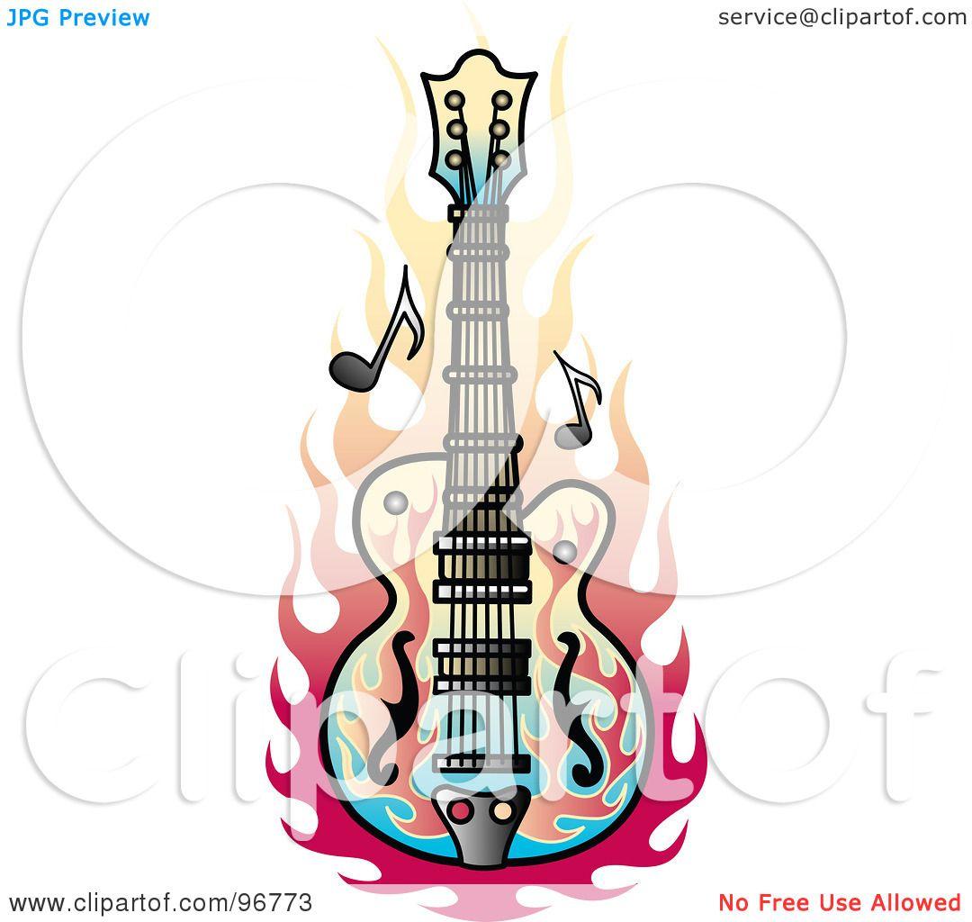 Bass Guitar Tattoos Flame Tattoo Design