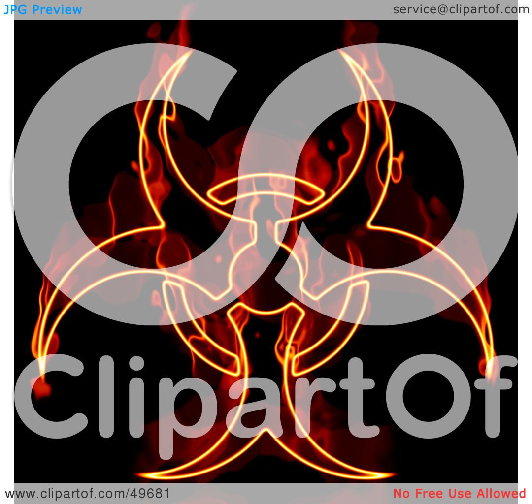Royalty Free Rf Clipart Illustration Of A Flaming Biohazard Symbol