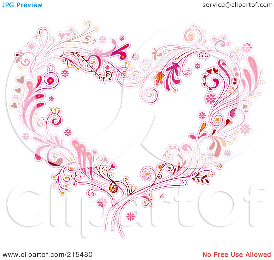 Royalty-Free (RF) Clipart Illustration of a Floral Heart ...