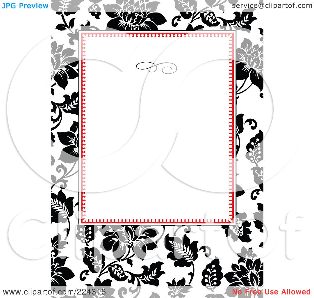 RoyaltyFree RF Clipart Illustration of a Floral Invitation – Free Invitation Clipart