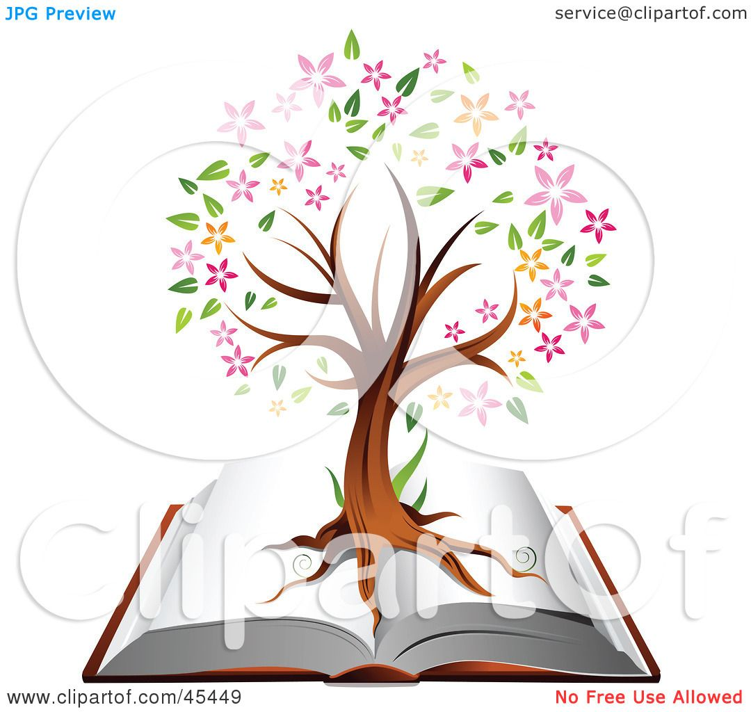 Royalty-Free (RF) Clipart Illustration Of A Flowering Family Tree Growing On An Open Book By TA