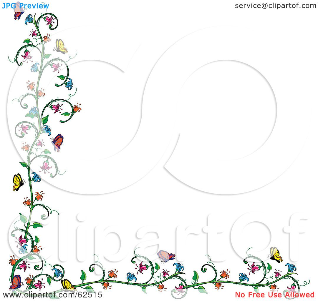 Flower and butterfly border clip art - photo#27
