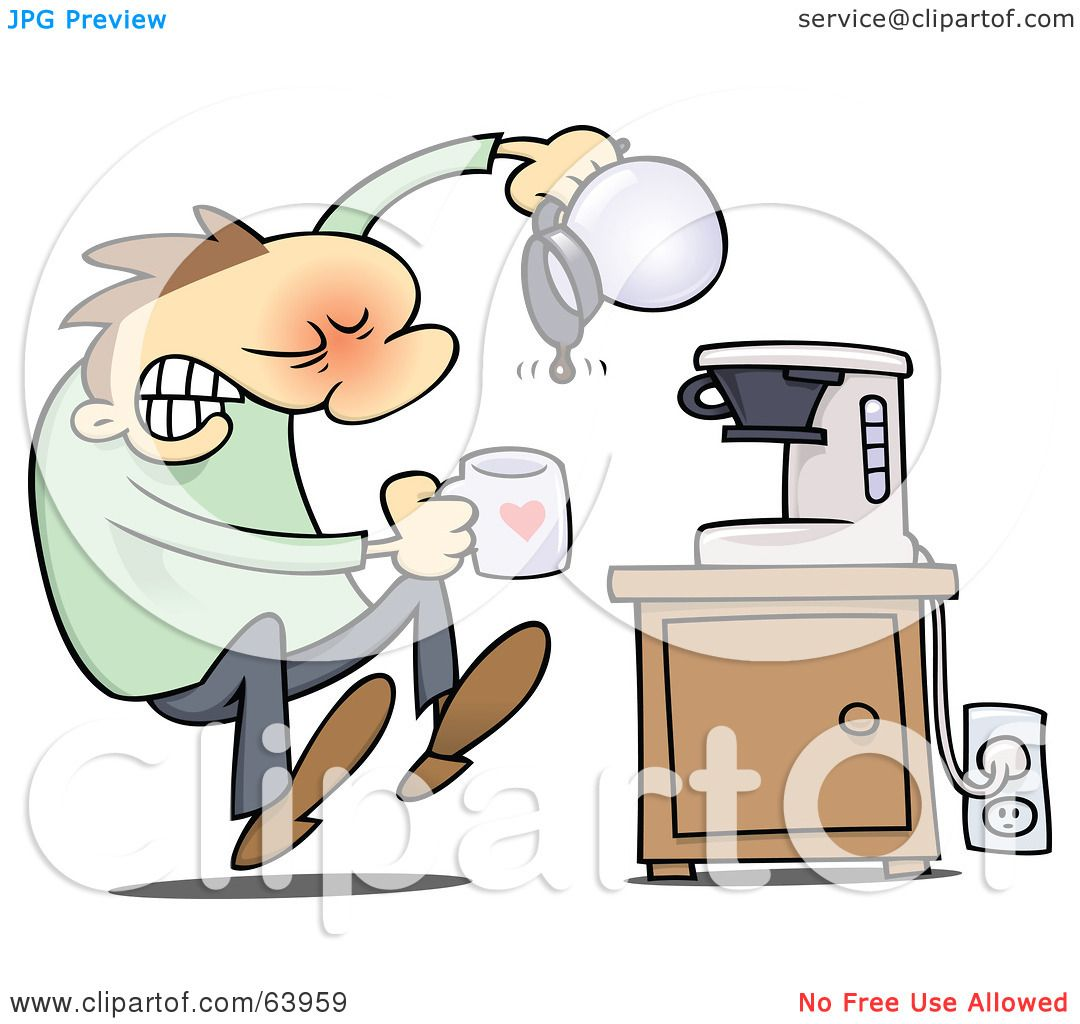 royalty free  rf  clipart illustration of a flustered man Empty Cup Clip Art empty coffee pot clipart