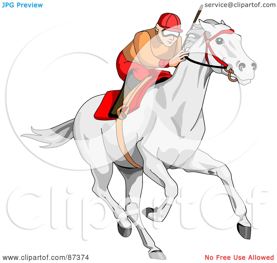 Royalty Free RF Clipart Illustration Of A Focused Jockey Racing White Horse By C Charley Franzwa