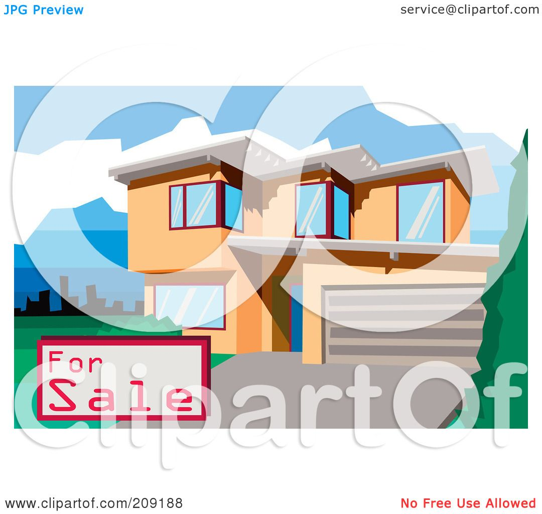 Royalty free rf clipart illustration of a for sale sign for Modern house clipart