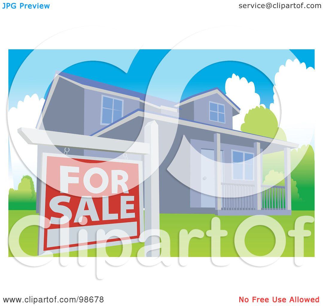 RoyaltyFree RF Clipart Illustration of a For Sale Sign Posted