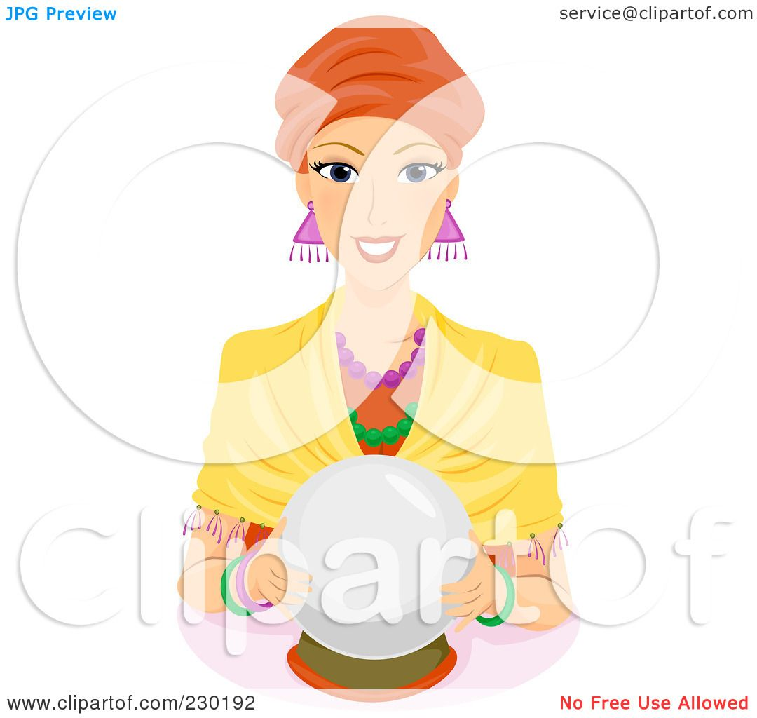 Royalty-Free (RF) Clipart Illustration of a Friendly Female Fortune