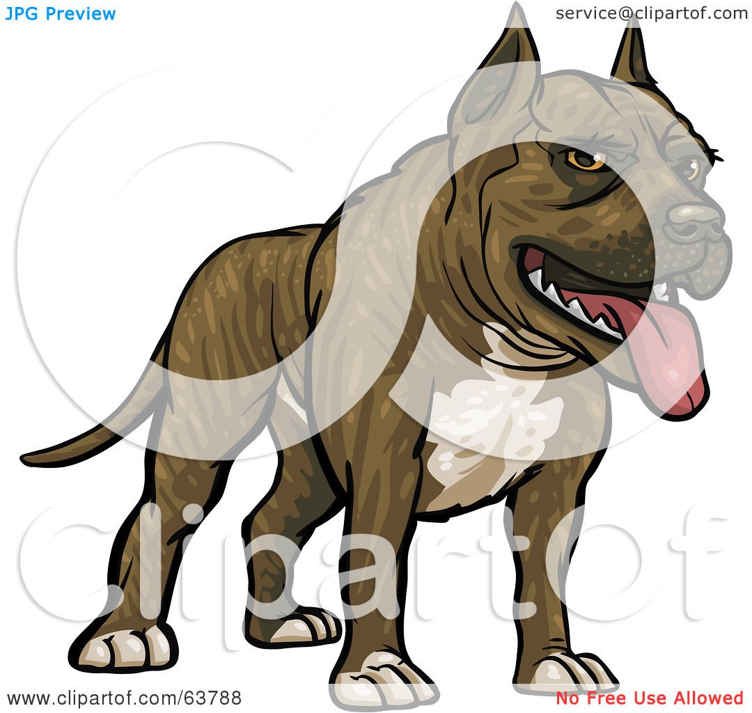 Royalty-Free (RF) Clipart Illustration of a Friendly Pitbull Dog ...