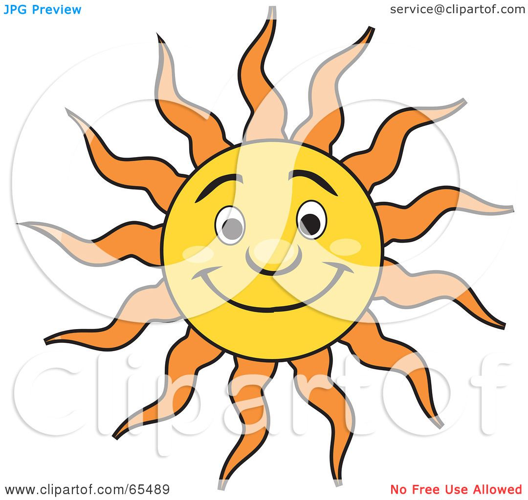 royalty free rf clipart illustration of a friendly smiling sun with orange rays and shiny. Black Bedroom Furniture Sets. Home Design Ideas