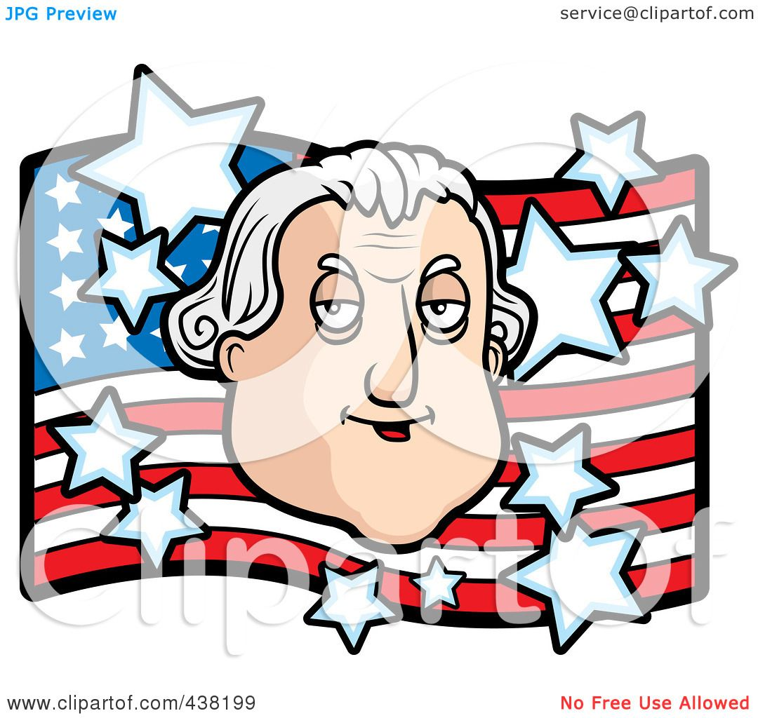 Free coloring page george washington - Royalty Free Rf Clipart Illustration Of A George Washington Over An American Flag By Cory Thoman