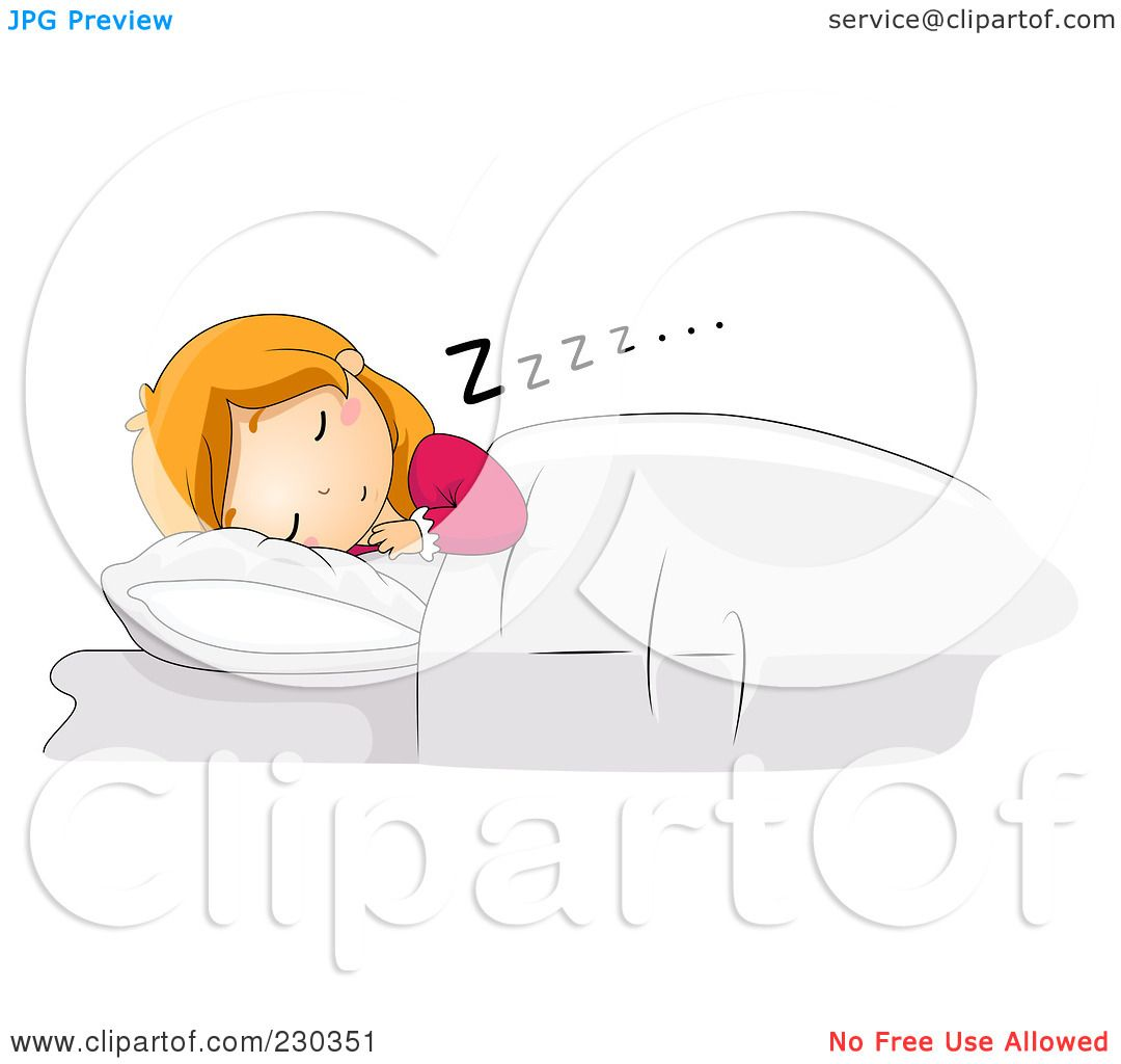 Royalty-Free (RF) Clipart Illustration of a Girl Sleeping ...