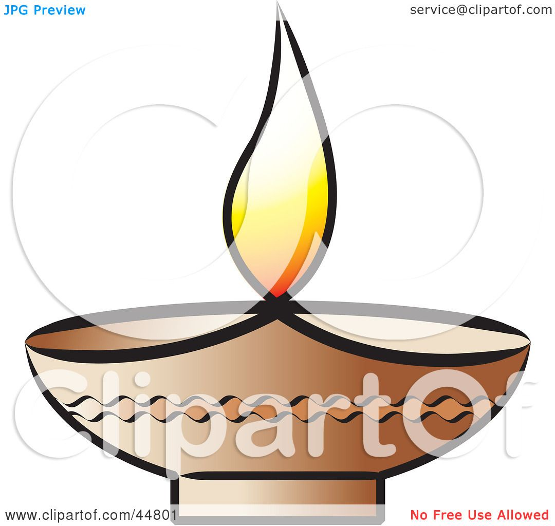 Royalty Free (RF) Clipart Illustration Of A Glowing Oil Lamp With A Flame  By Lal Perera
