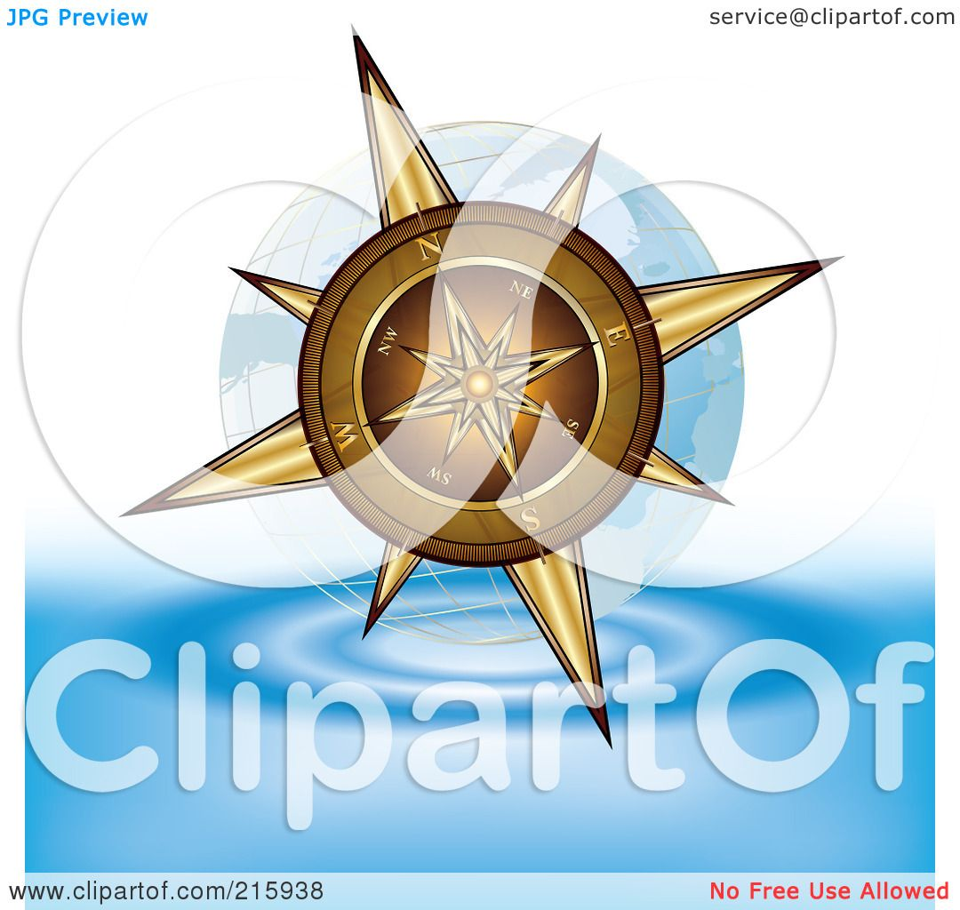 Royalty-Free (RF) Clipart Illustration of a Gold Compass Above Water  title=