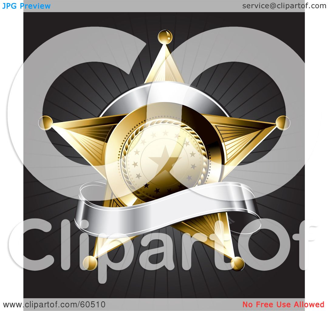 royalty free rf clipart illustration of a gold star police badge