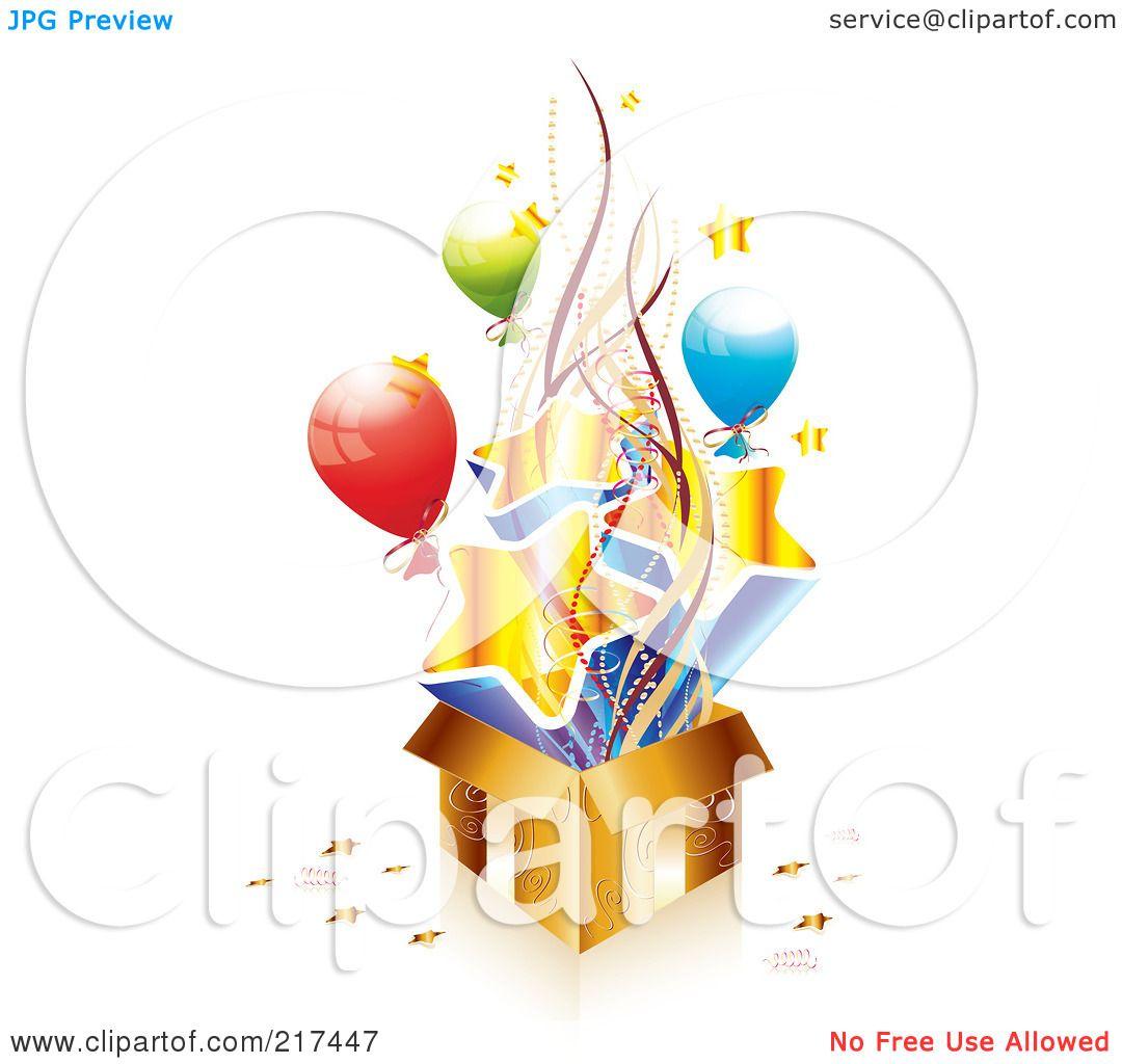 Royalty Free Rf Clipart Illustration Of A Golden Birthday Gift Box