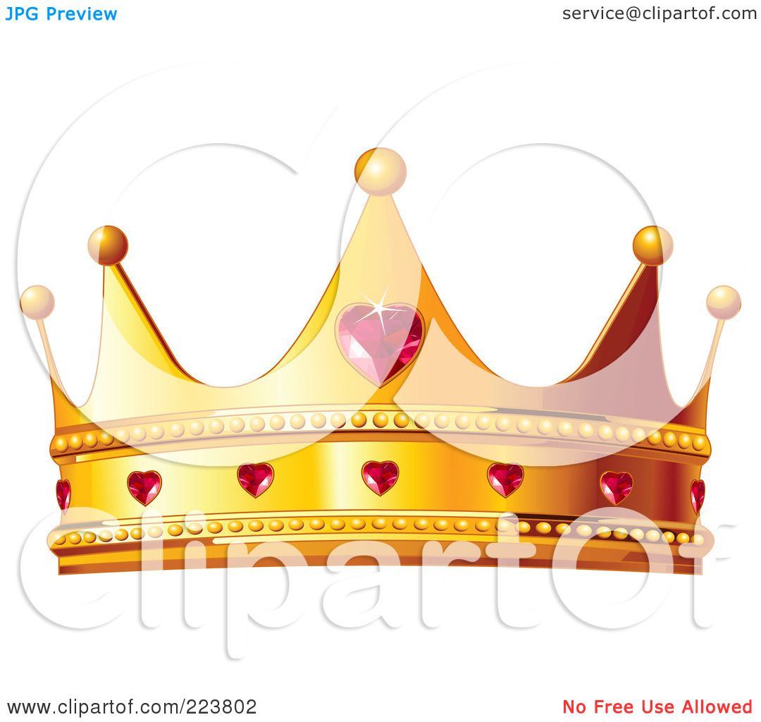 Illustration of a Golden Queen Crown With Ruby Hearts by PushkinQueen Of Hearts Crown Clip Art