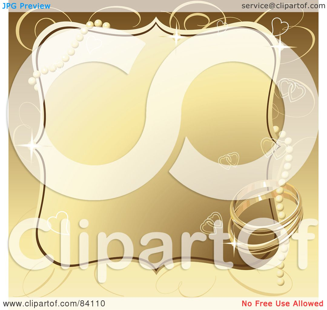 Royaltyfree (rf) Clipart Illustration Of A Golden Wedding Background With  Pearls, Wedding Rings And Hearts By Pushkin