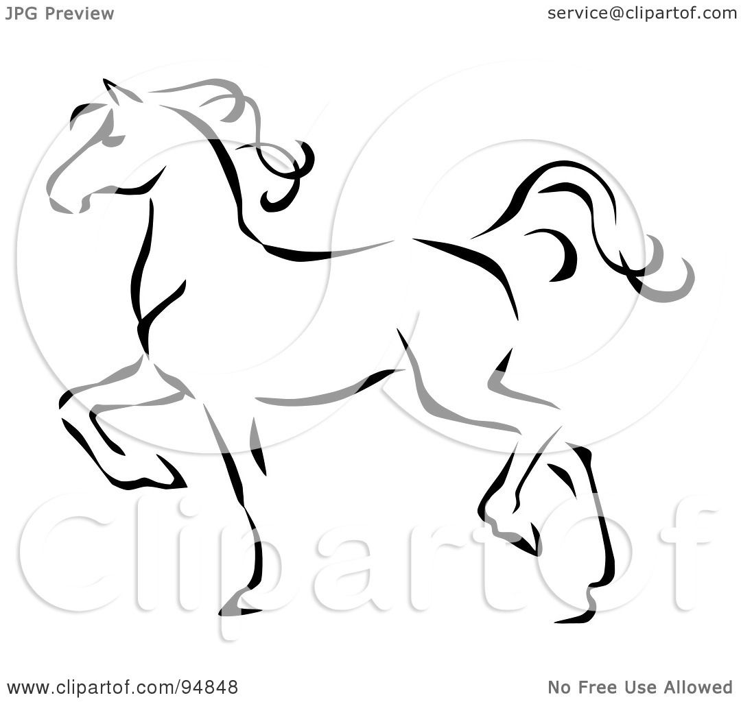 Royalty Free RF Clipart Illustration Of A Graceful Black Line Art Trotting Horse Profile By C Charley Franzwa