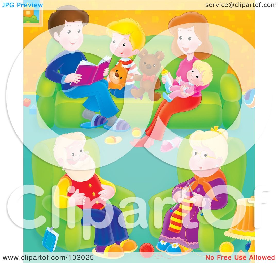 Royalty Free RF Clipart Illustration Of A Granny Knitting In Living Room With Her Family By Alex Bannykh