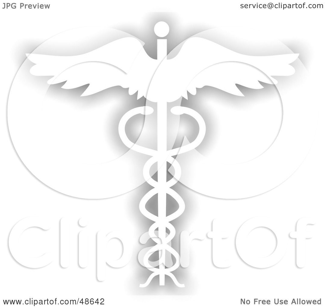 Royalty Free Rf Clipart Illustration Of A Gray And White Caduceus