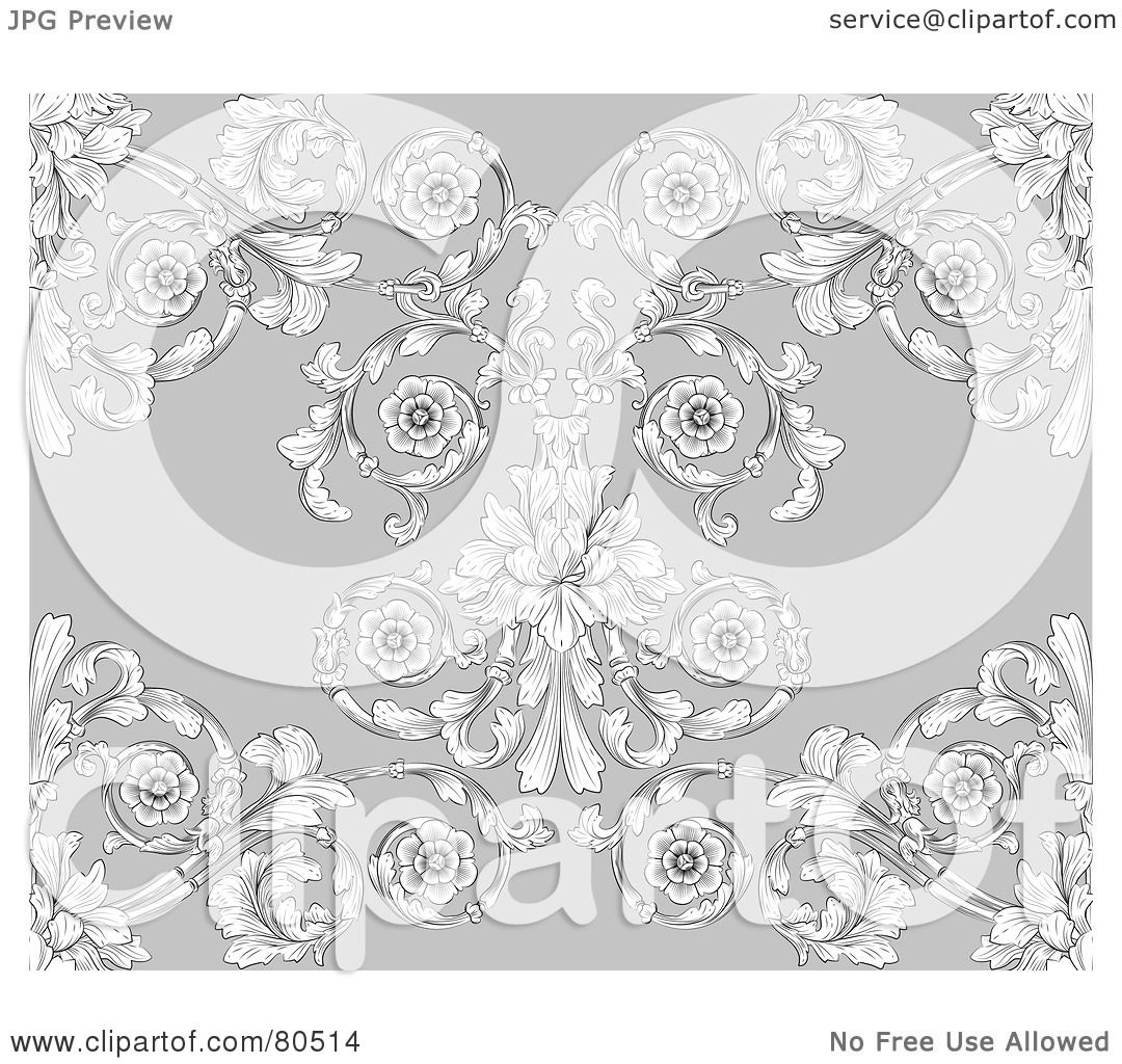 Royalty Free RF Clipart Illustration Of A Gray Victorian Floral Styled Seamless Background By AtStockIllustration