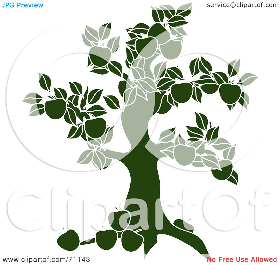 royalty free rf clipart illustration of a green apple tree silhouette by pams clipart