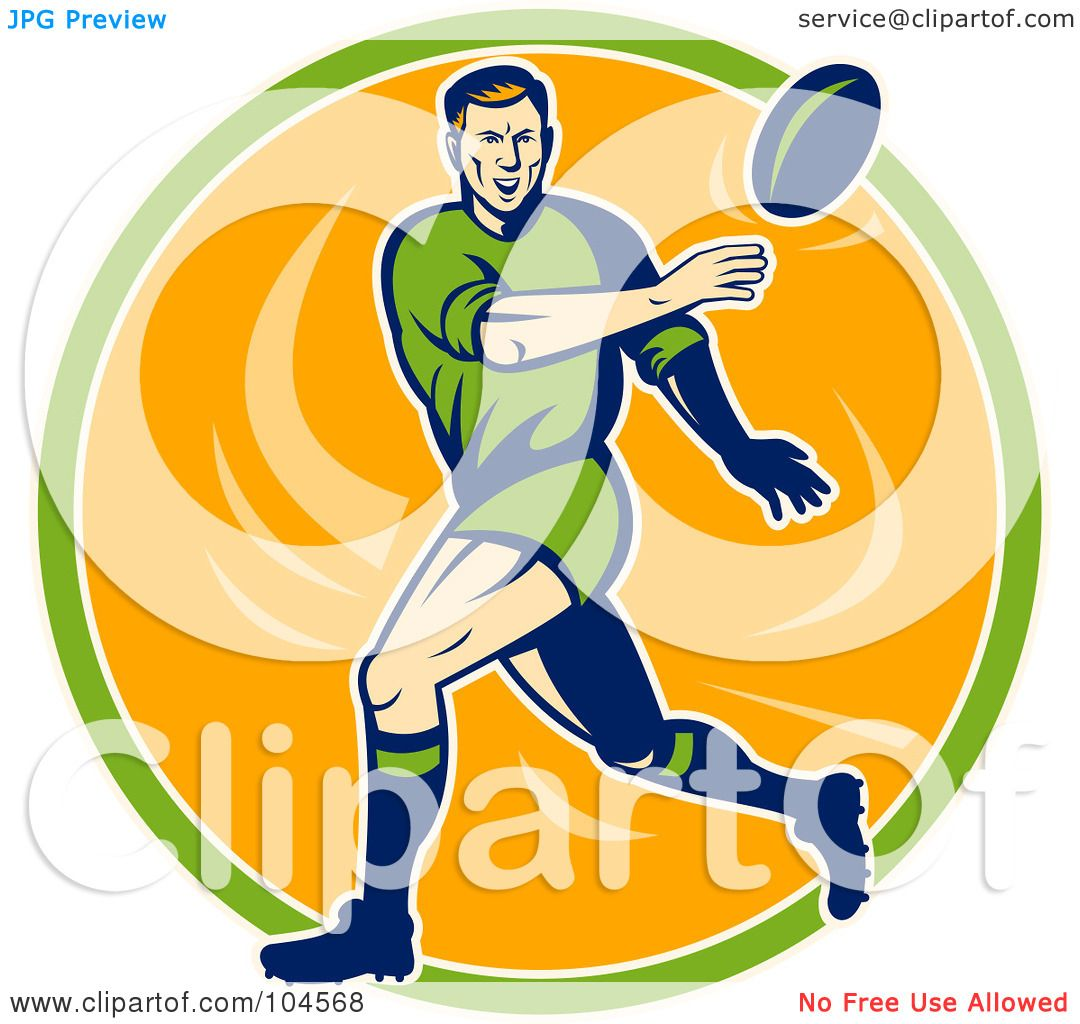 Green Rugby Player: Royalty-Free (RF) Clipart Illustration Of A Green, Blue