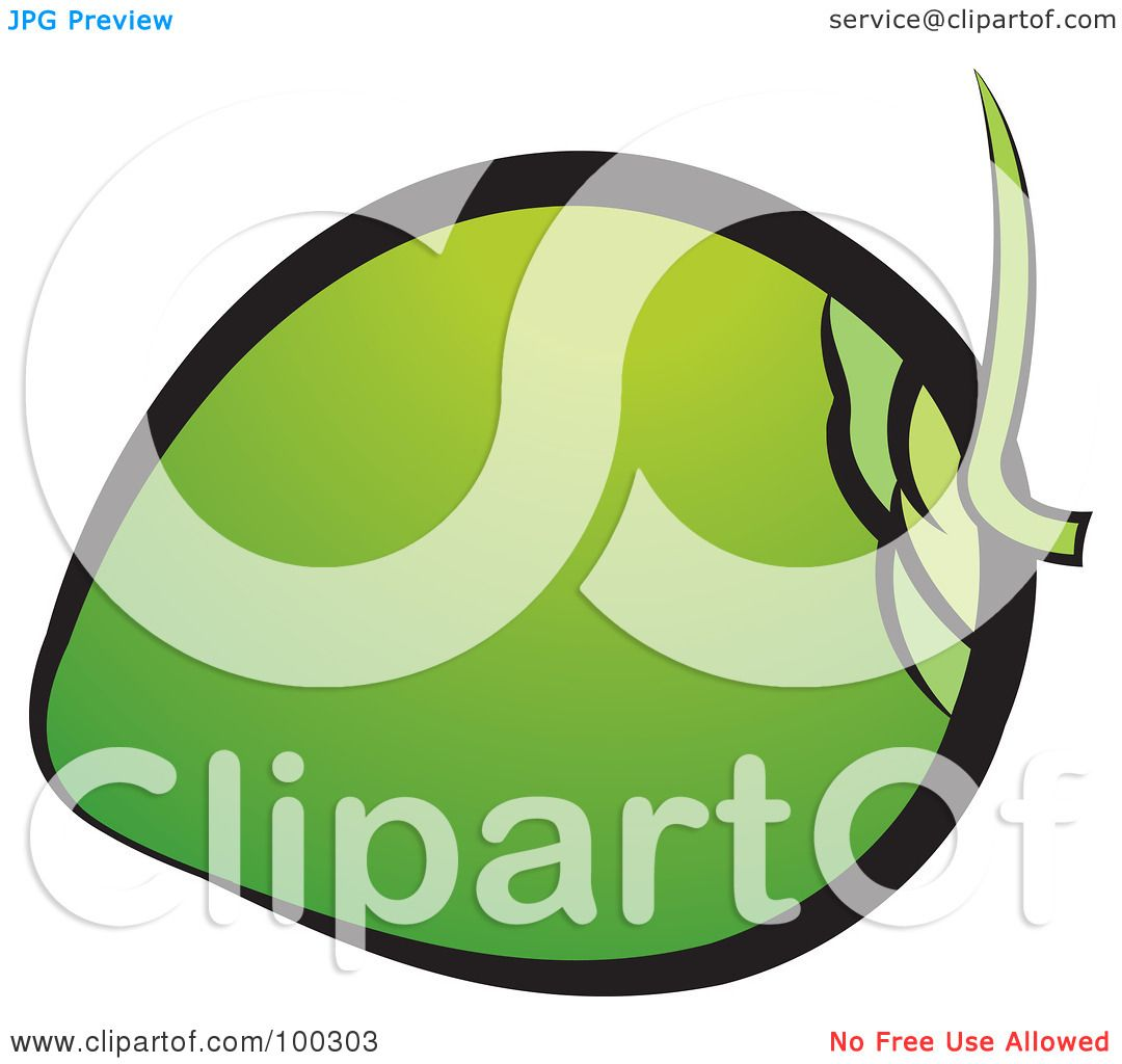 Royalty Free RF Clipart Illustration Of A Green Coconut By Lal Perera