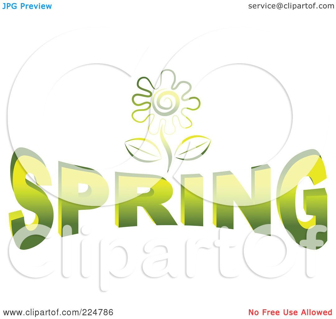 royalty free rf clipart illustration of a green flower over
