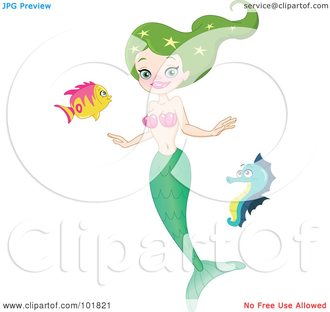 royalty free rf clipart illustration of a green haired mermaid