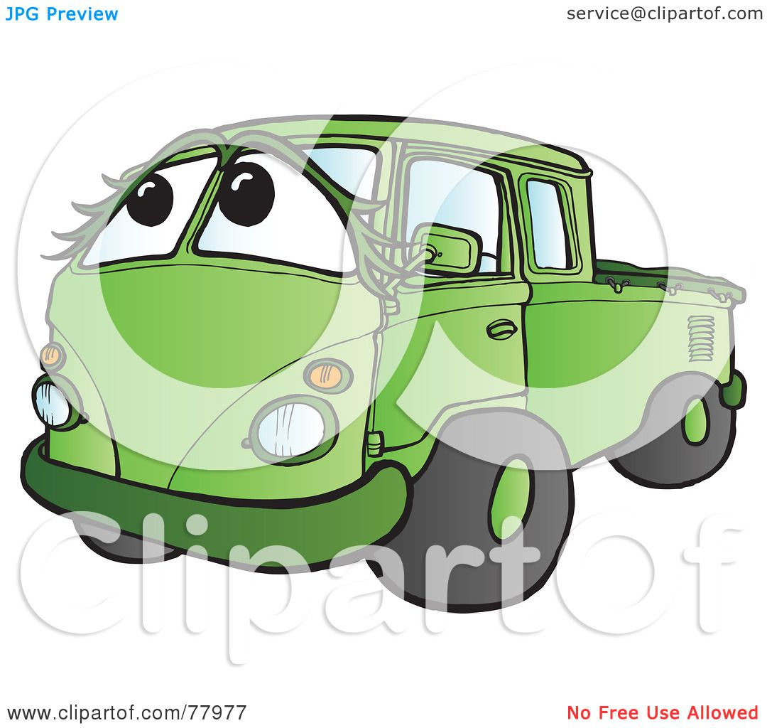 Green truck clipart royalty free rf pickup truck clipart - Royalty Free Rf Clipart Illustration Of A Green Hippy Micro Truck With A Face By Snowy
