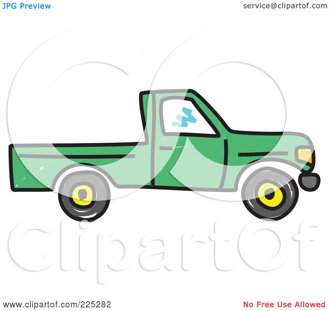 Royalty Free Rf Clipart Illustration Of A Green Pickup Truck By Prawny 225282