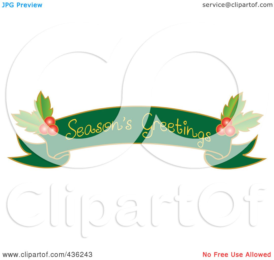 Royalty free rf clipart illustration of a green seasons royalty free rf clipart illustration of a green seasons greetings ribbon banner with holly by pams clipart kristyandbryce Choice Image