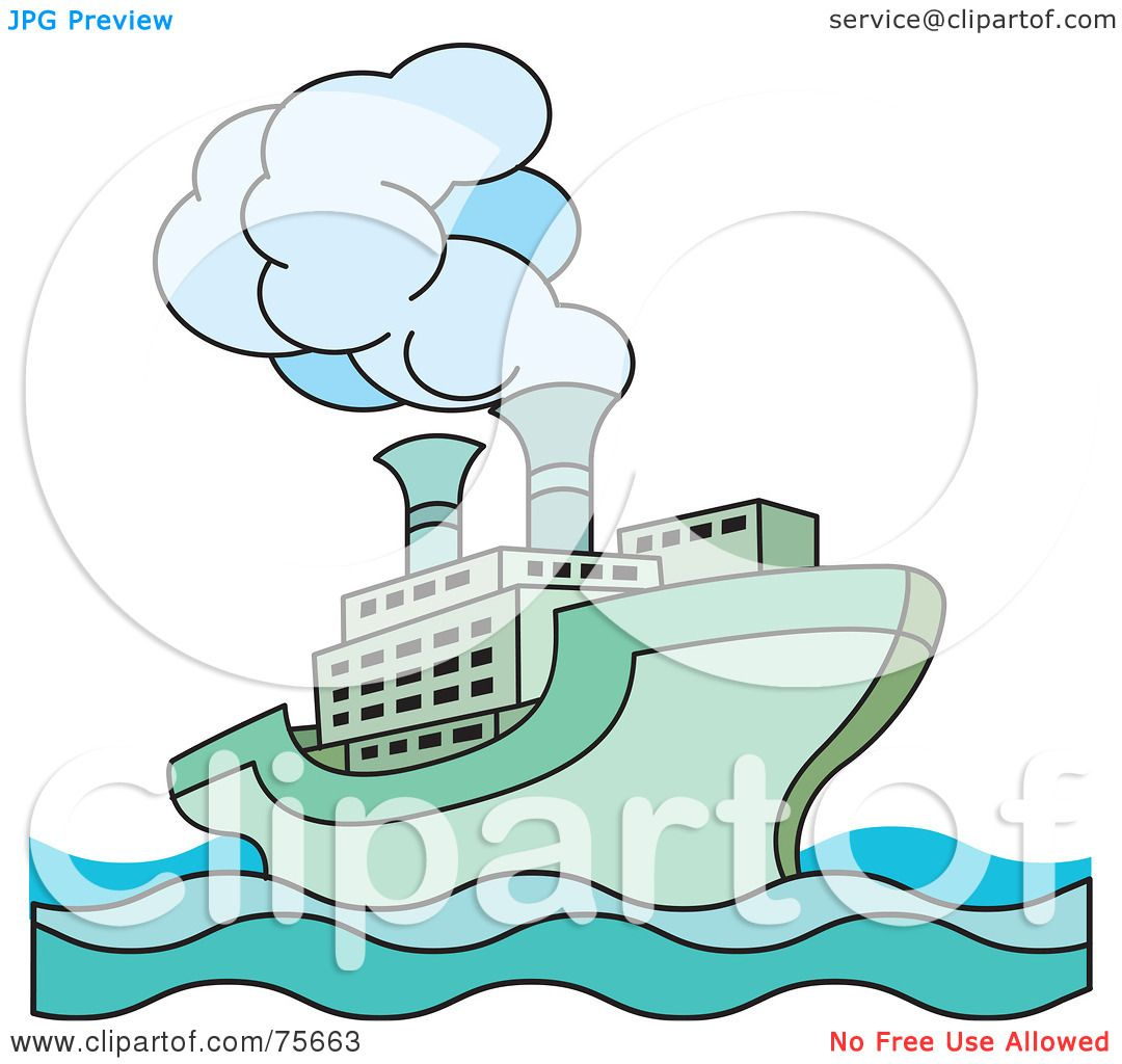 royalty free rf clipart illustration of a green steamer cruise