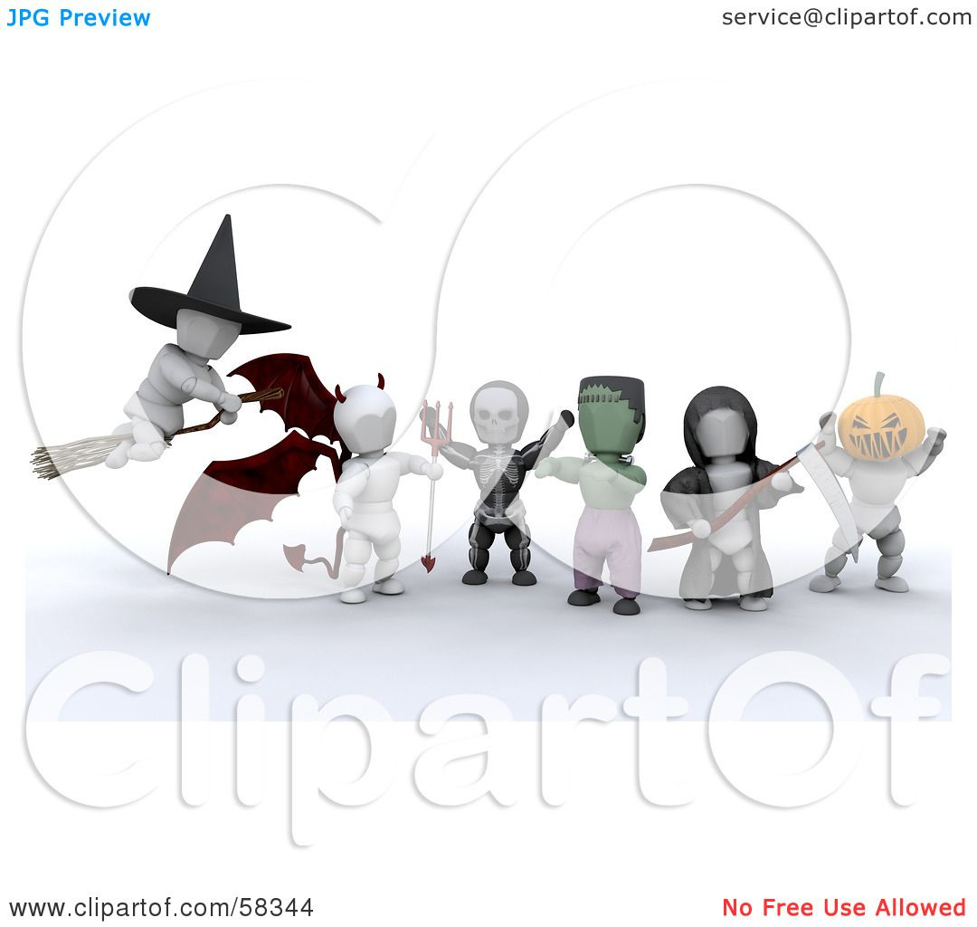 royalty free rf clipart illustration of a group of 3d white