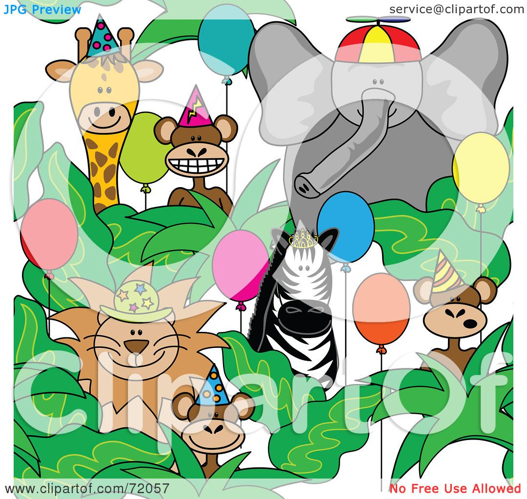 Royalty-Free (RF) Clipart Illustration of a Group Of Party Animals ...