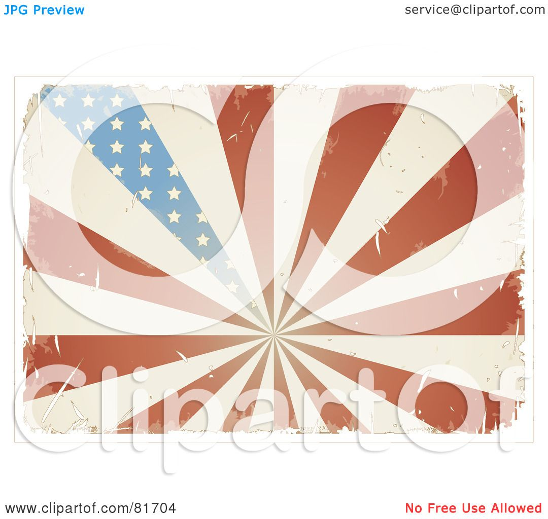 Royalty Free RF Clipart Illustration Of A Grungy Retro Antique American Flag Burst Background By Anja Kaiser