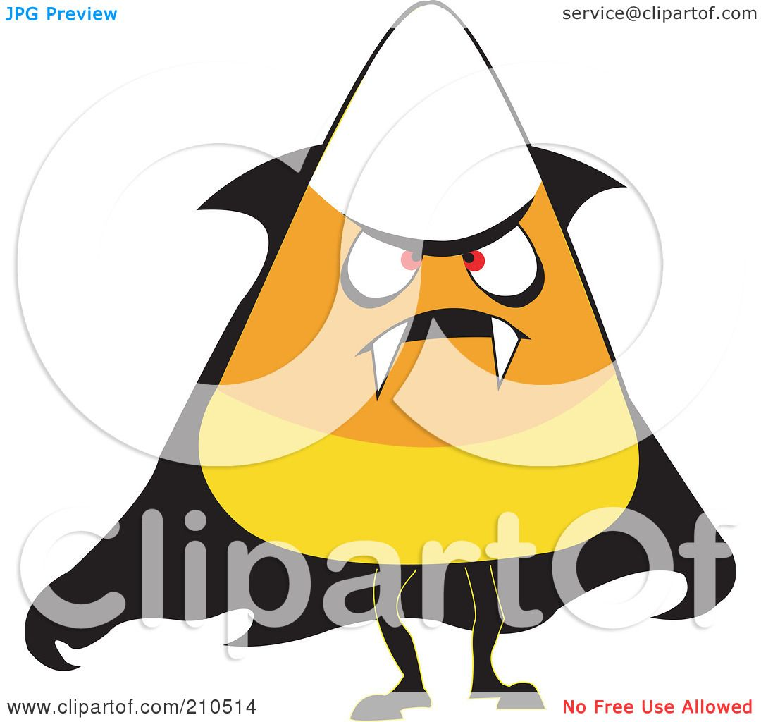 Royalty  Free RF Clipart  Illustration  Of A Halloween  Candy  Corn  In A Vampire  Costume