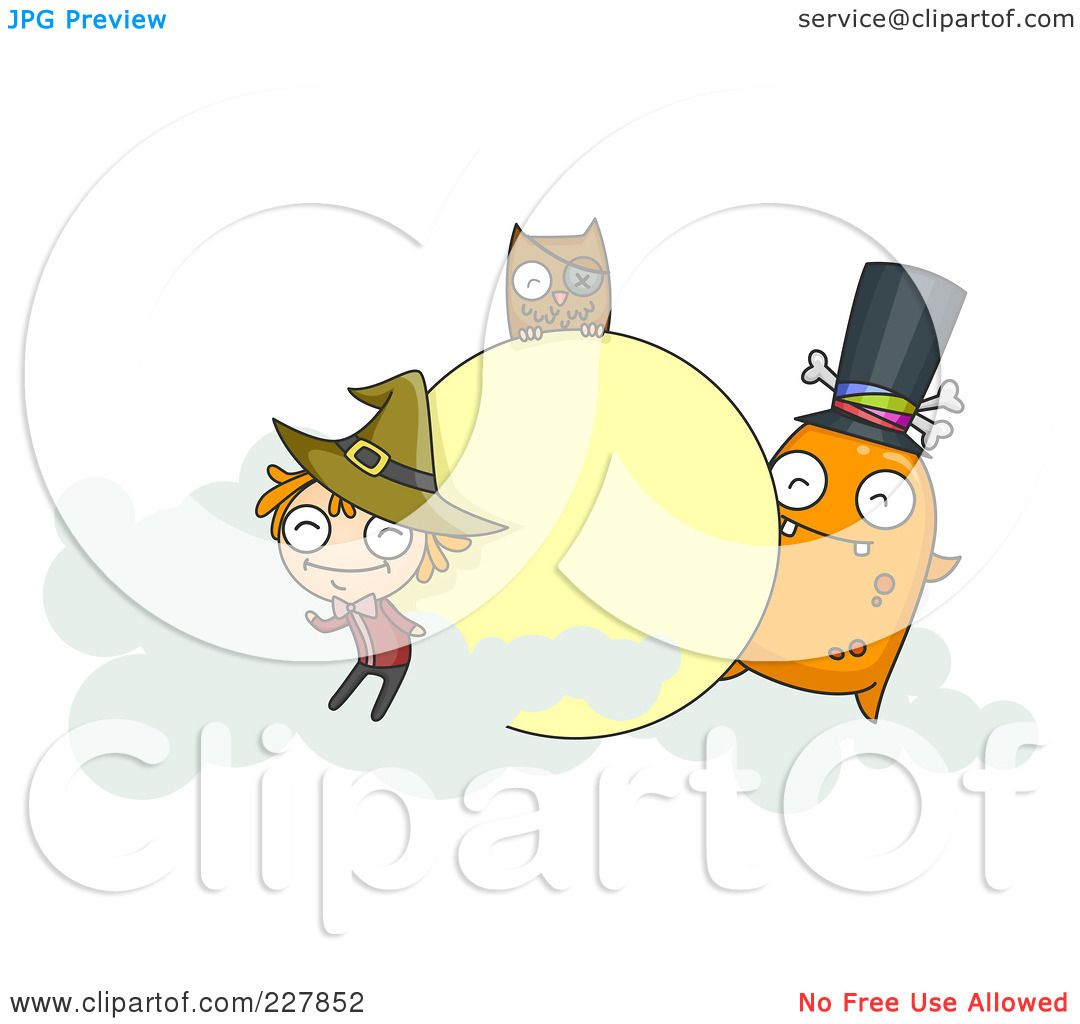 royalty-free (rf) clipart illustration of a halloween witch, owl and