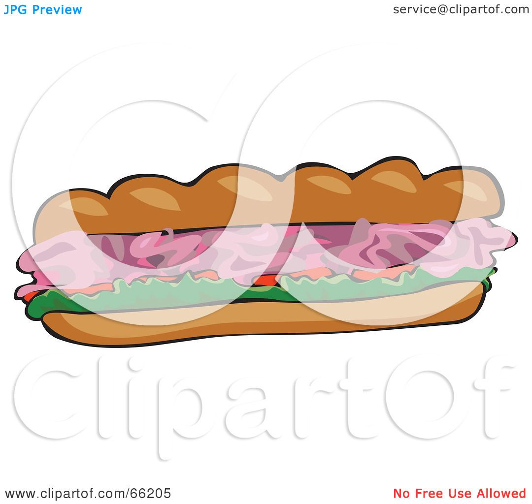 Royalty-Free (RF) Clipart Illustration of a Ham Submarine Sandwich ...