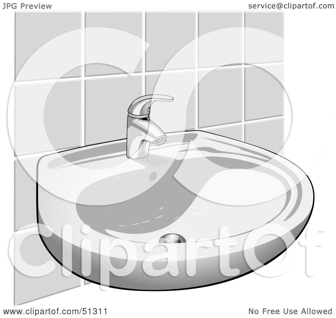 Bathroom sink clip art - Royalty Free Rf Clipart Illustration Of A Hand Washing Sink Against A Tile Wall By Dero
