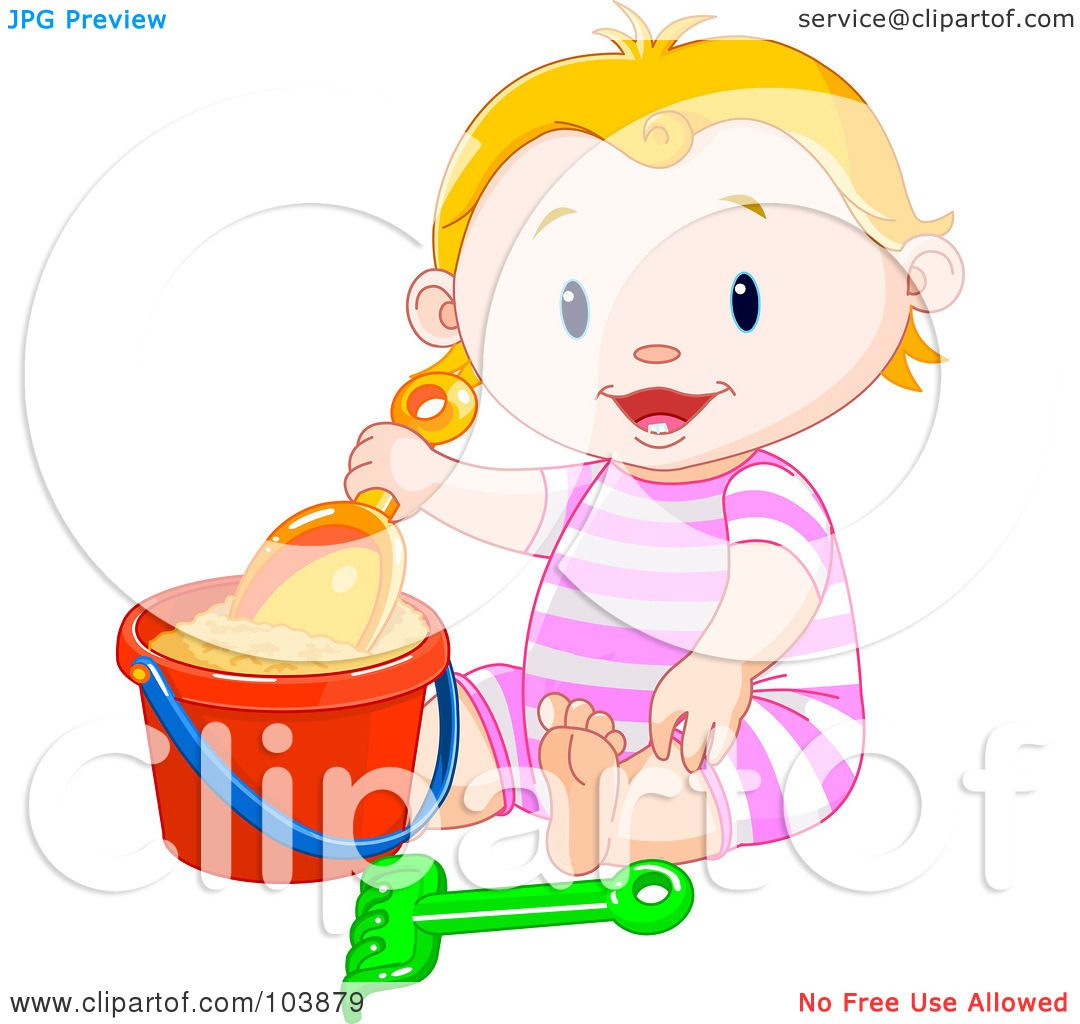Clipart Cute Baby Sitting Naked - Royalty Free Vector