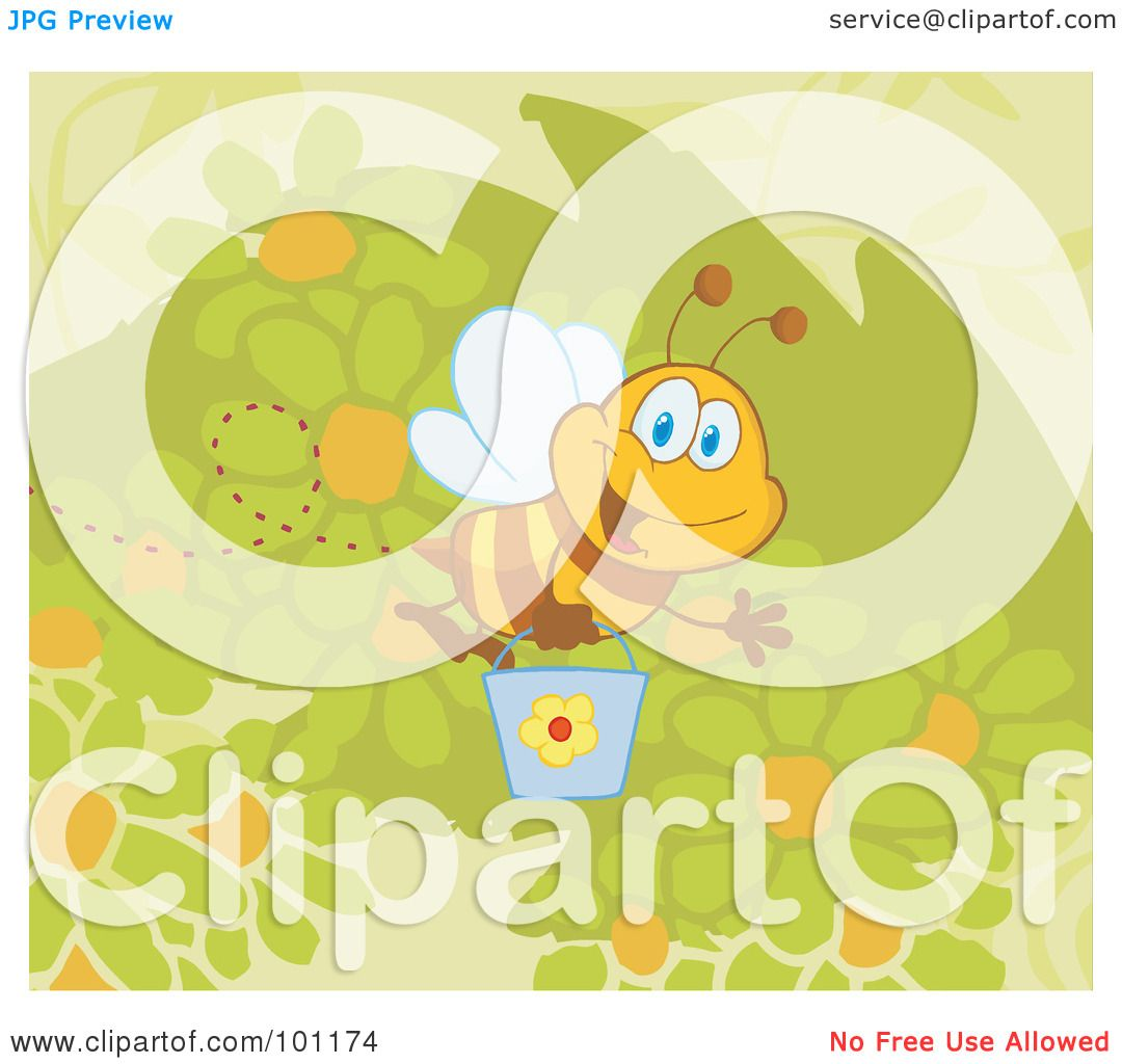 royalty free rf clipart illustration of a happy bee