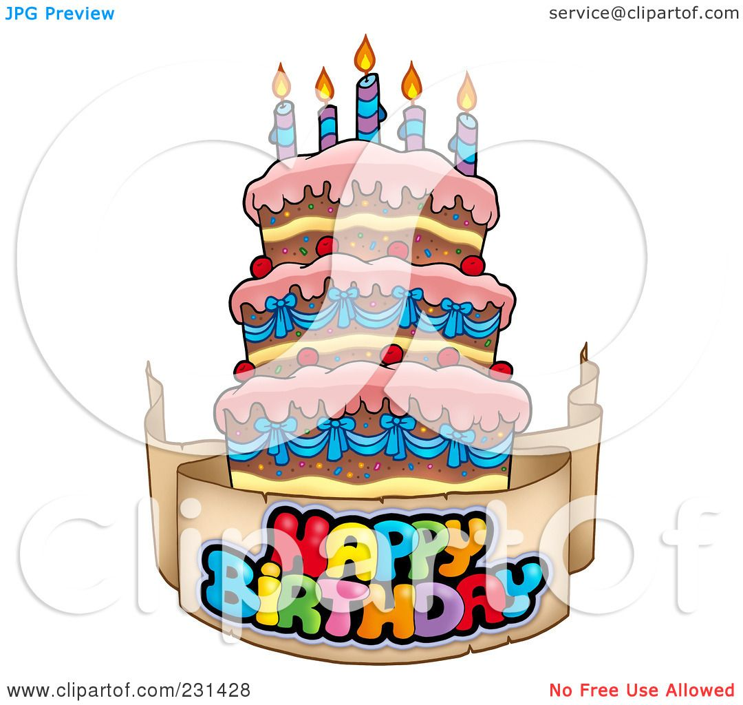 Royalty Free RF Clipart Illustration Of A Happy Birthday Banner Around Cake