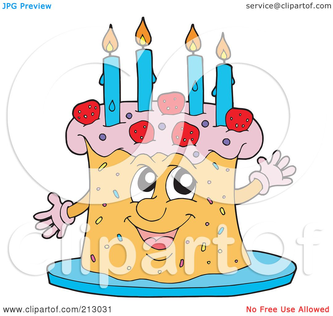 Royalty-Free (RF) Clipart Illustration of a Happy Birthday Cake ...