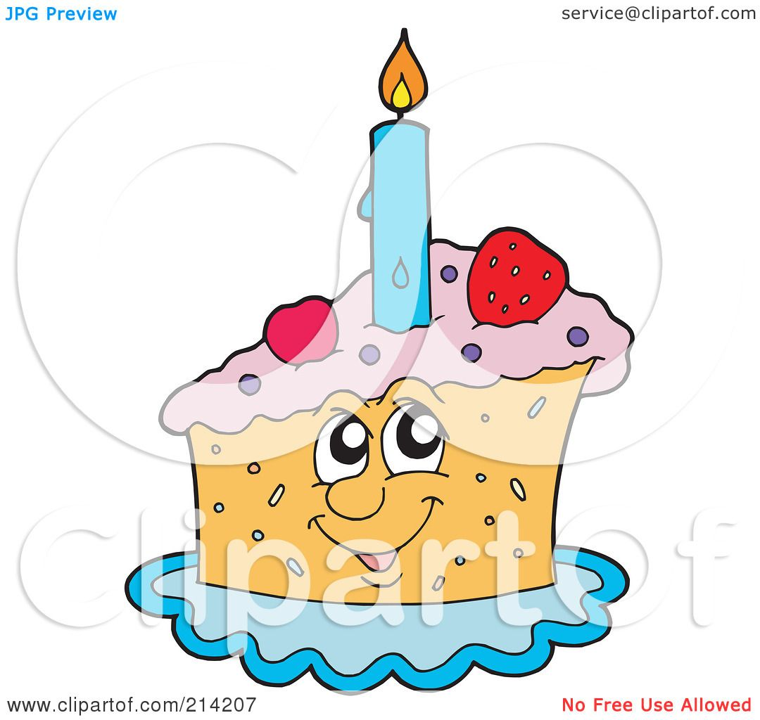 RoyaltyFree RF Clipart Illustration of a Happy Birthday Cake Slice