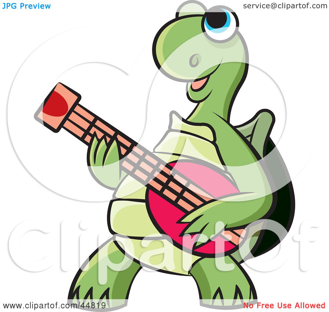 Royalty Free RF Clipart Illustration Of A Happy Blue Eyed Green Tortoise Character Playing Guitar
