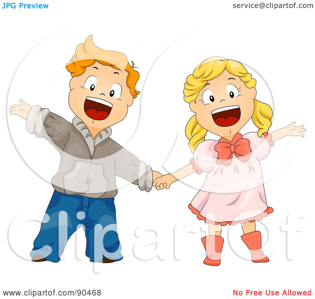 Royalty-Free (RF) Clipart Illustration of a Happy Boy And ...