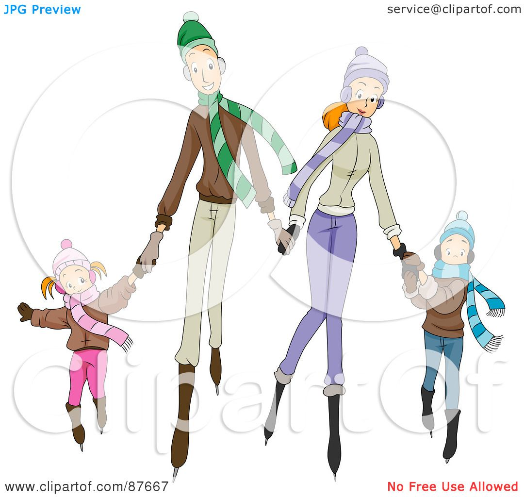 Royalty-Free (RF) Clipart Illustration of a Happy Caucasian Family Of
