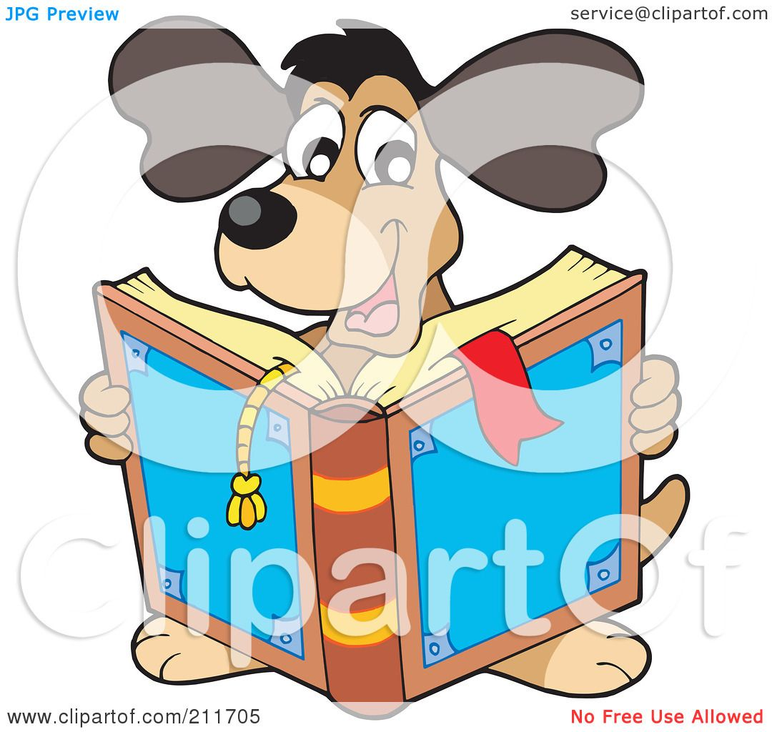 Worksheet Reading Free royalty free rf clipart illustration of a happy dog reading book by visekart